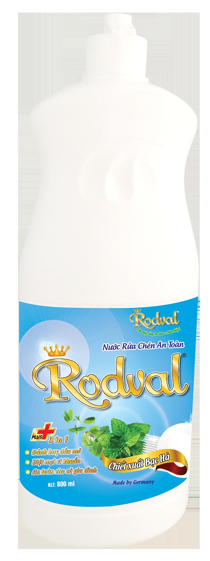 Nước rửa chén Rodval hương bạc hà 800ml
