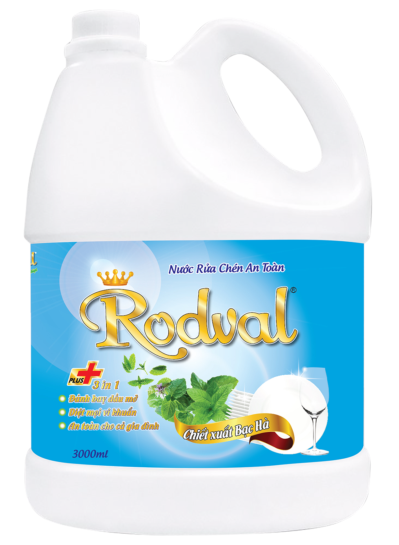 Nước rửa chén Rodval hương bạc hà 3L